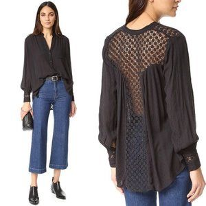Free People The Best Button Front Crochet Blouse